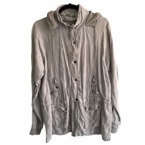 MICHAEL STARS Linen Military Anorak Jacket Green M